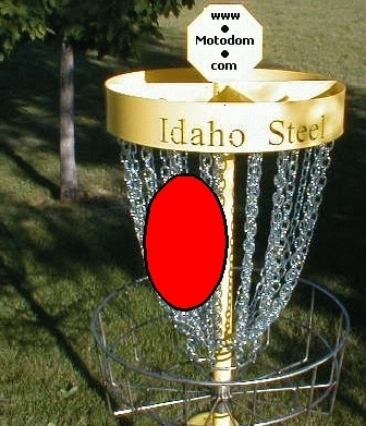 Aim to hit this side of basket with Right hand Bi-Moto Putt